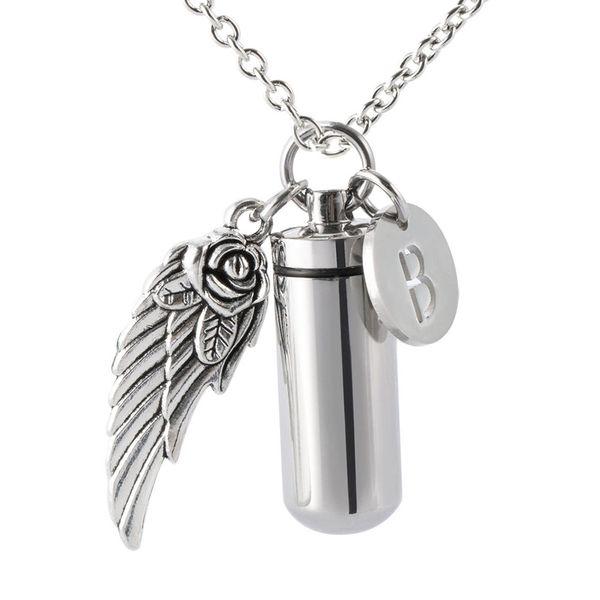 Personalizzato Personalizzato 26 lettera cremazione cilindro gioielli per cenere Urn Collana in acciaio inox memoriale angelo ala urna ciondolo