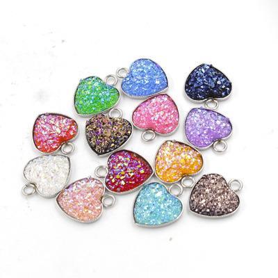 En acier inoxydable amour coeur Druzy pierre pendentif 13 MM Bling en forme de coeur charme pour colliers Mode DIY fabrication de bijoux en vrac