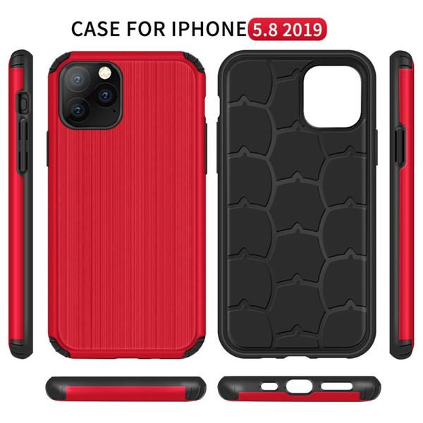 Conception brossées cas de téléphone portable d'armure hybride pour Samsung Galaxy Note 10 Plus S10 A20 A30 Iphone 11 Pro Max Slim Case mobile