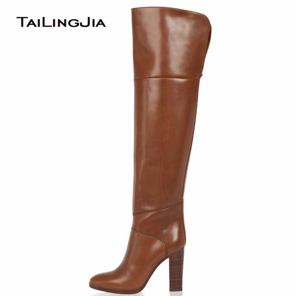 Compre Marrones De Las Mujeres Botas Altas Rodilla Botas De Tacón Alto Puntera Redonda Moda Bloque De Tacón Invierno Mantener Cálidas Botas Para Mujer