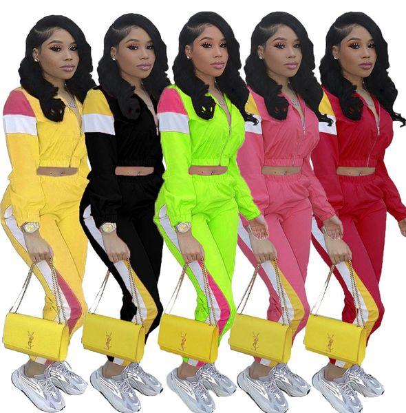 Kadın jogger Ceket takım uzun Kollu Iki parçalı set Patchwork eşofman mahsul üst kıyafetler spor giyim bahar ceket pantolon LJJA3112
