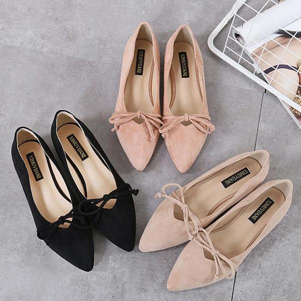 Qualitätsveloursleder flache Schuhfrauenseil bowtie Ebenen zeigten Zehe OL beschuht die Damen, die große Größe 10 s184 fahren / bearbeiten
