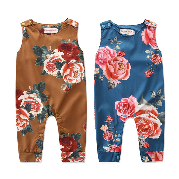 Baby Jumpsuit Baby Romper Open crotch Floral Autumn Cotton Sleeveless trousers O Neck Clothes Fashion B11