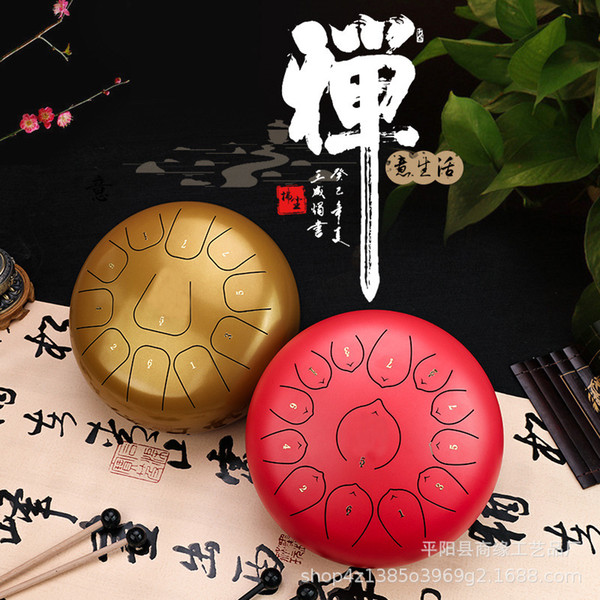 top popular 12InCH Steel Tongue Drum 11 Notes C Major Scale Handpan Hand Tankdrum Mallets Percussion Instrument Gifts for yoga Music Instrument 2021