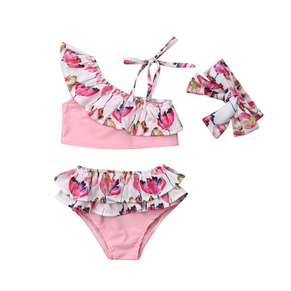 6M-4T 3PCS Summer Sportswear Kids Baby Girl Flower Ruffle Bikini Swimwear Swimsuit Bathing Suit One Shoulder Tops Cute Headband