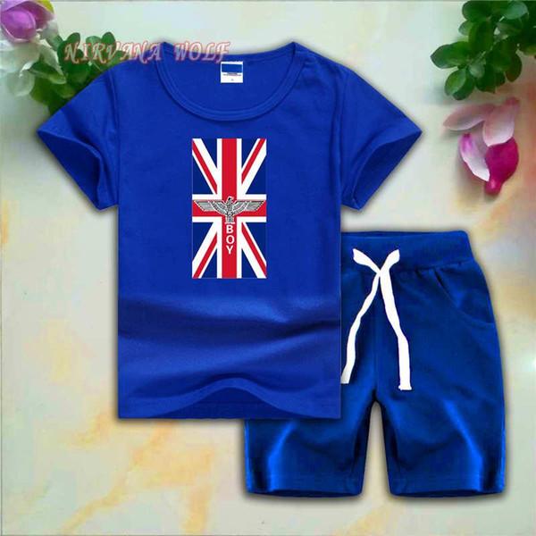 MENINO Crianças Conjuntos 1-7 T Crianças 8 Cores T-shirt Calças Curtas 2 Pcs / sets Bebê Meninos Meninas 95% Algodão Bandeira Nacional crianças roupas de grife meninas