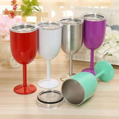 10oz Stainless Steel Double Wall Vacuum Sealed Wine Glass Wine Goblets with lid Unbreakable Portable for Travel Party Home
