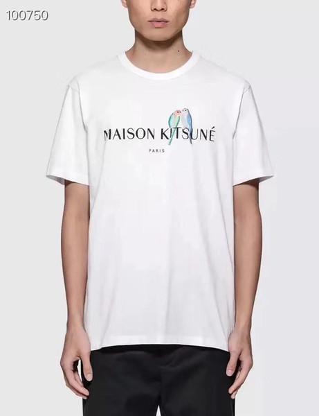 Las letras bordadas de pájaros imprimen a hombres, mujeres y la pareja usan camiseta de manga corta de algodón Moda simple Ocio 2019 nueva camisa de verano 01GU