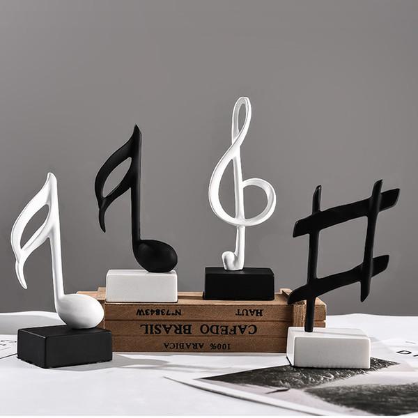 Скандинавская музыка Примечание черный белый музыкальный класс фортепиано смолы ремесла сказочный сад миниатюры статуэтки свадебный подарок домашнего декора аксессуары