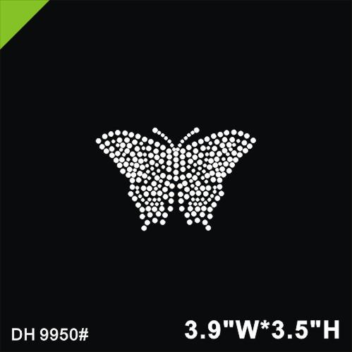 Free shipping Butterfly iron on crystal transfers design hot fix rhinestone motif transfer on design rhinestones fix patches DIY DH9950#