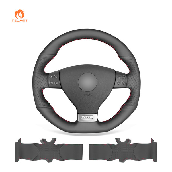 MEWANT Black Artificial Leather Car Steering Wheel Cover for Volkswagen Golf 5 Mk5 GTI VW Golf 5 R32 Passat R GT 2005