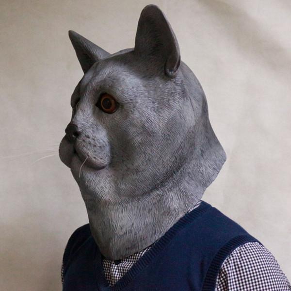 2018 Nouveaux produits Ventes élevées Halloween Masques en latex pour animaux Masque gris pour le visage, masque facial complet Cosplay adulte