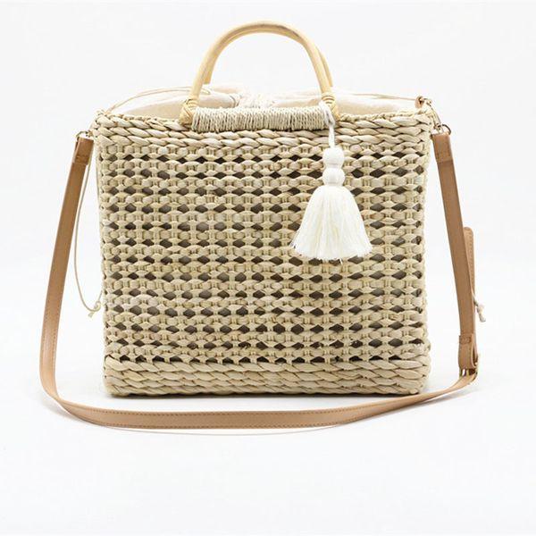 Fashion New Shoulder Bag Popular Tassel Manual Woven Straw Bag 2019 Year Quality Craft Paper Holiday Weaving Handbag Beach Bag Y19061204