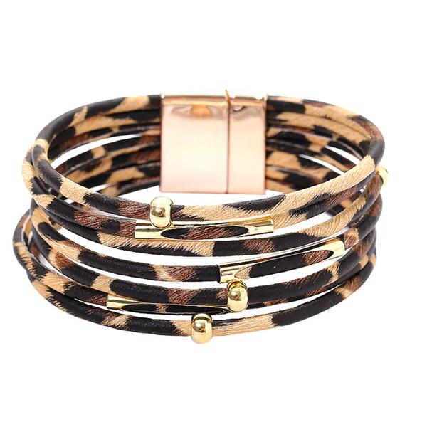 Leopard Leather Bracelets For Women 2019 Fashion Bracelets & Bangles Elegant Multilayer Wide Wrap Bracelet Trendy Jewelry z0730