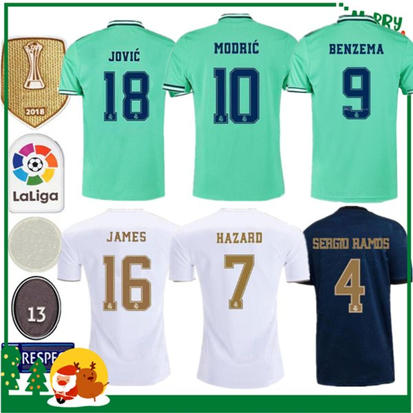 19 20 Real madrid maillot de football Benzema JOVIC MILITAO Modric Ramos Bale HAZARD 2019 2020 homme adulte femme enfants kit de sport maillot de football