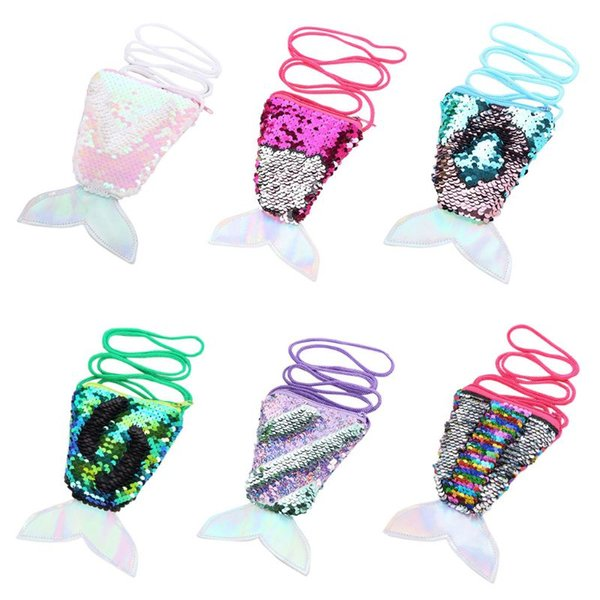 1 Pc New Kids Children Sequins Fish Tail Mini Shoulder Bag Zipper Coin Purse Crossbody Bags NoEnName_Null