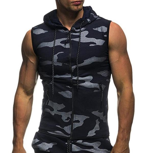 Acheter 2018 Nouveaux Hommes D'été Casual Camouflage Imprimer À Capuche Sans Manches Top Gilet Blouse Feitong Haute Qualité Hommes Hip Hop Lettre #