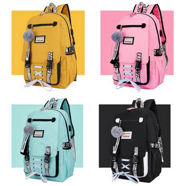 New Middle School Backpack With USB Charging Port School Bags For Girl Travel Bag Bookbag Plusch Ball Big Girl Schoolbag