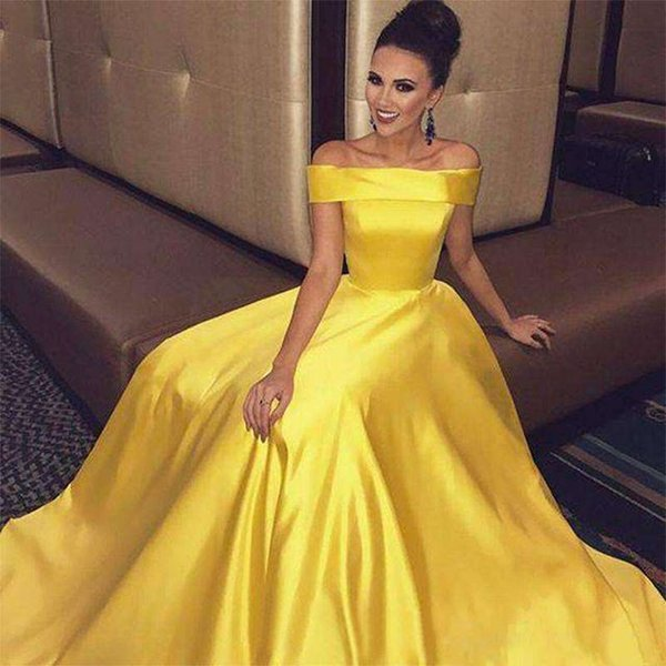 2019 New Yellow Off The Shoulder Prom Dresses A Line Elastic Satin Floor Length Formal Evening Occasion Party Dresses Cheap Hot Sale