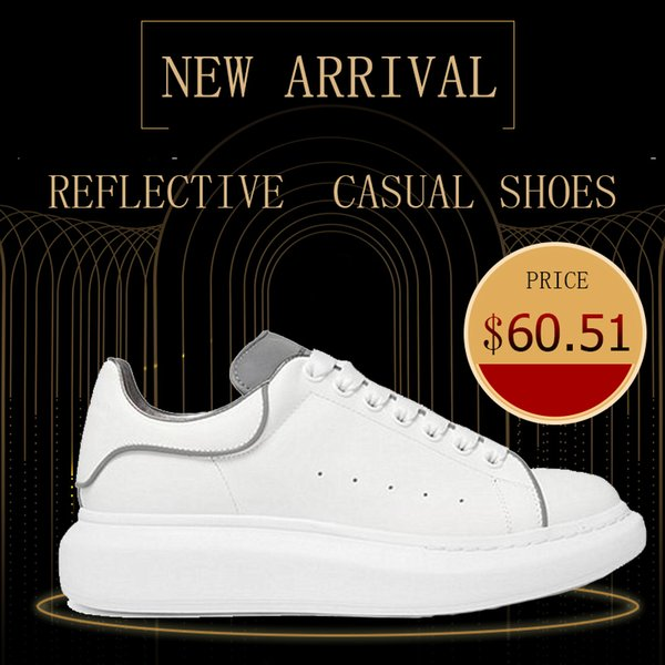 2019 Newest Reflective Designer Name Brand Man Woman Shoes Flats Chaussure Fashion Nude Leather Lace up height increase Casual Shoes