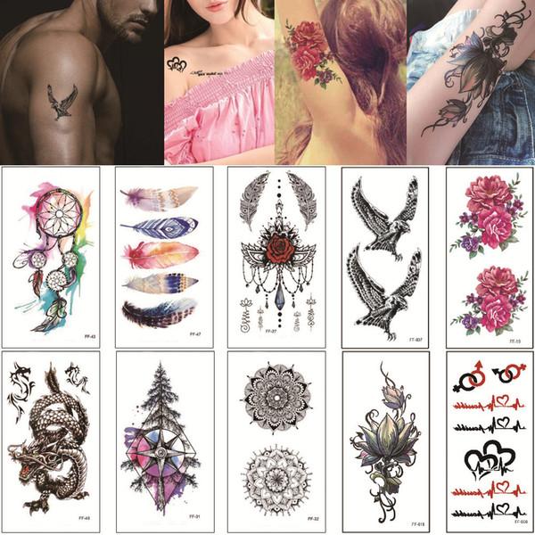 9*19cm FF Lotus Flower Eagle Temporary Tattoo Design Body Art Transfer Paper Words Alphabet Snake Love Tattoo Sticker for Woman Man Kids Hot