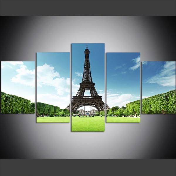 5 pezzi di grandi dimensioni Canvas Wall Art Pictures Creativo Torre Eiffel Francia Parigi Poster Art Print Pittura ad olio per soggiorno