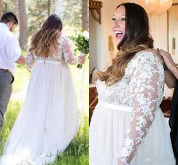 Plus Size Country Wedding Dresses with Long Sleeve 2018 Modest Lace Tulle Sheer Back Outdoor Bohemian Beach Bridal Dress Cheap