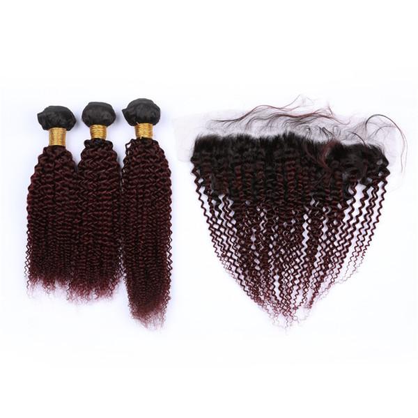 # 1B / 99J Wine Red малазийский Virign человеческих волос 3Bundles Kinky завитые с Фронтальная Burgundy Ombre 13x4 Lace фронтальным Закрытие с переплетений
