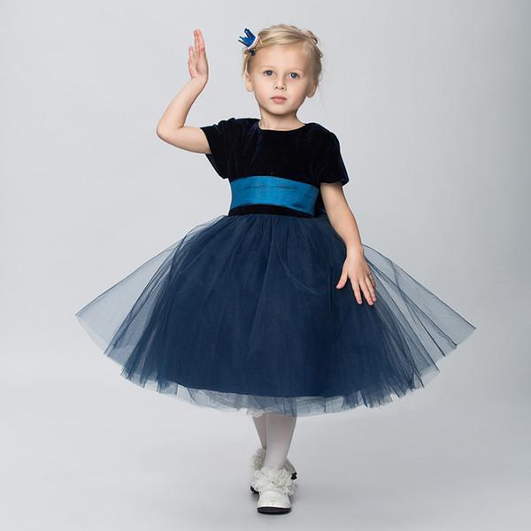 Blue Flower Girl Dresses for Weddings Princess Little Girls Evening Gown Birthday Dress for Girls 2018