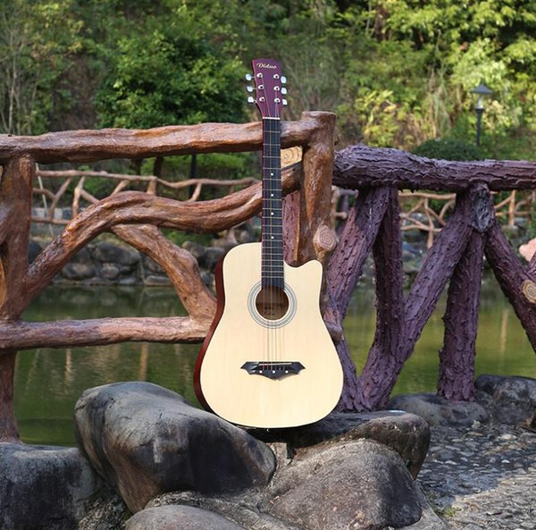 38 inch acoustic guitar metal string button Basswood novice beginner practice piano wood color free shipping