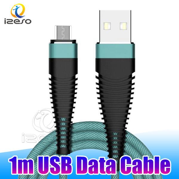 Flexible 1m 3ft Câble tressé 2A Charge rapide Sync Données Micro USB C pour Samsung Note10 Pro S10 5G Huawei Téléphone 2019 izeso