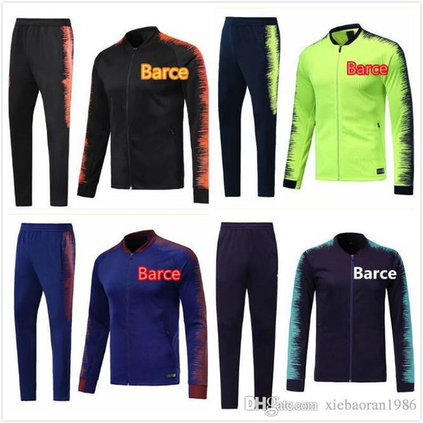 outlet store f5da9 02870 2019 TOP FC Barcelona Adult Soccer Tracksuit Set 2018 MESSI Tracksuits 2019  A.INIESTA Suárez DEMBELE COUTINHO Football Jacket Kit Training Suit From ...