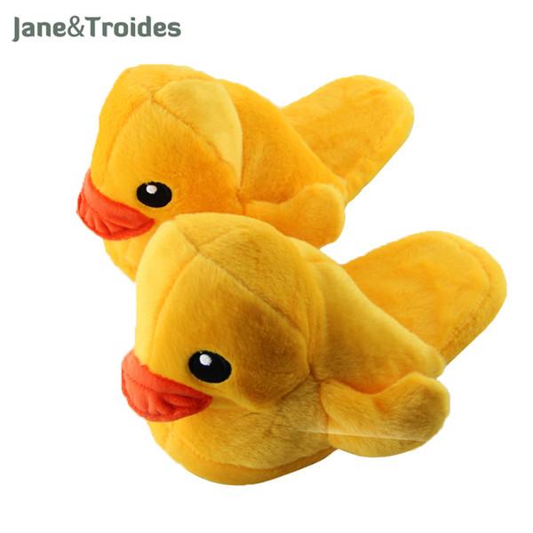Winter Fluffy Yellow Duck Slippers For Women Men Indoor Plush Warm Couple Flip Flops Cute Cartoon Fashion Floor Woman Shoes