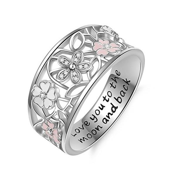 Free Shipping (1pcs) Delicate Female 925 Silver Flower Ring Pink Sapphire Flower Diamond Lucky Cherry Four-leaf Clover Poetry Eternal Charm