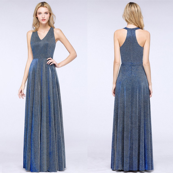 Reflective Blue Sequined Evening Prom Dresses Formal Arabic Vestidos Party Celebrity Gowns Bridesmaids Mother Dress Cheap CPS1242