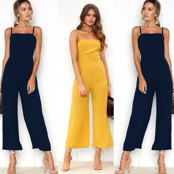 Solid Color Loose Jumpsuit Srappy Straight Leg Pants Ninth Pants Siamese Trousers Fashion Women Clothing Drop Ship