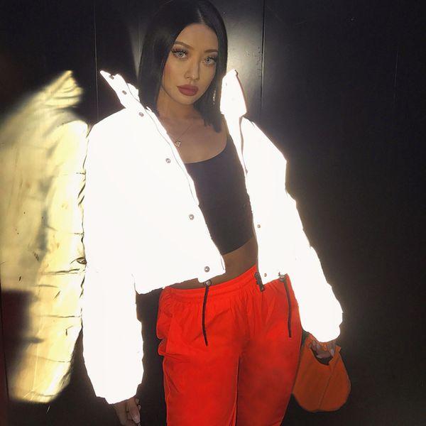 Damenmode Winterjacken Kurze Warme Mantel Grau Farbe Reflektierende Kurze Jacke Neue Damen Parka Wintermäntel Outwear