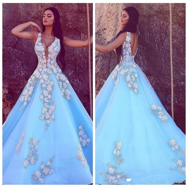 V-Neck Lace Appliques 2019 Floral Prom Dresses Custom Slim Backless Middle East Evening Party Gowns Robe De Soiree Dubai Robe De Fiesta