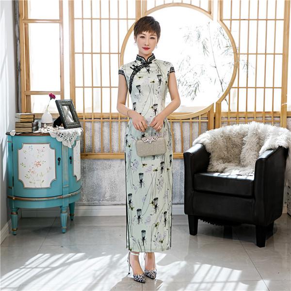 Femmes Classique Imprimer Fleur qipao longue classique chinoise Qipao Robe Sexy Slim Vintage SOIRÉE robe de Split Vestidos