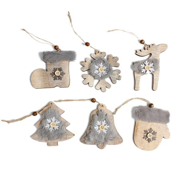 2020 wooden diy christmas ornaments new year gift faux fur snowflake bell deer hanging ornament rustic christmas decorations