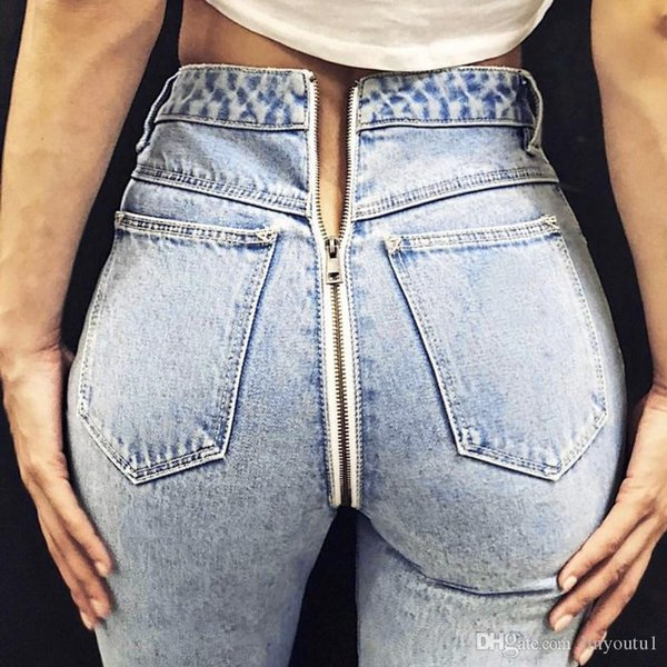 Mode ouvert Jeans Butt Crotch Zip Retour Zipper Femmes Leggings Sexy droites Denim taille haute Hippie pantacourt Harajuku hiver