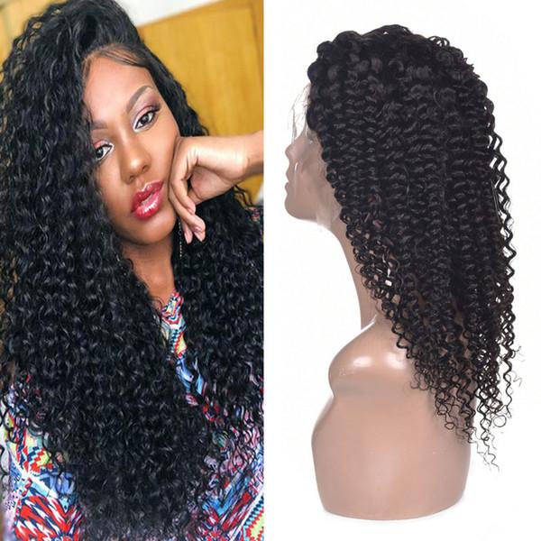Parrucche Afro Kinky ricci pizzo anteriore capelli umani peruviano malese indiano brasiliano 13 * 4 pizzo parrucca capelli umani ricci per le donne nere