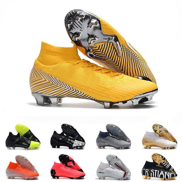 New Mercurial Superfly VI 360 Elite FG KJ 6 XII 12 Soccer Cleats For Mens Women Neymar CR7 High Football Boots 39-45