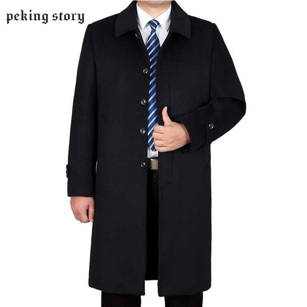Peking Story 50% Off Men Autumn and Winter Cashmere Jackets Men' s Casual Wool Blend Coats Woolen Large Size Jackets 3XL 4XL
