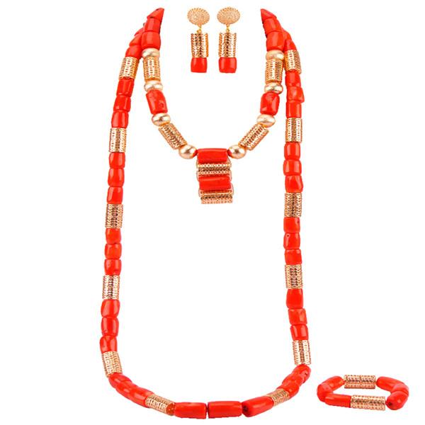 Luxury Nigerian Wedding Beads Orange Coral Jewelry Set Traditional African Wedding Bridal Statement Necklace Set Dubai RCBS01