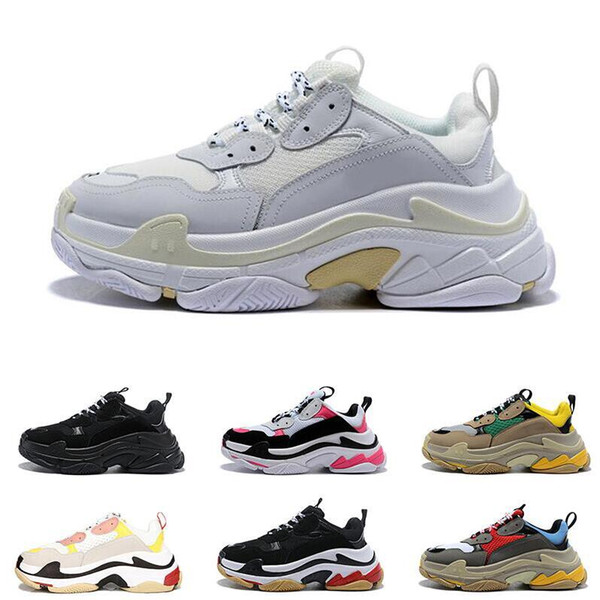 2019 melhor qualidade Paris 17FW Triplo-S Sapatilha Triplo S Casuais Pai Sapatos para HomensMulheresBanho Preto Ceahp Sports Designer Tamanho da Sapata 36-45