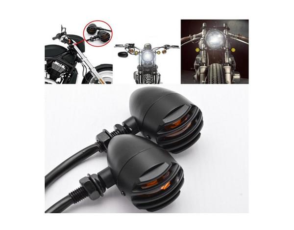 top popular 2Pcs Universal Motorcycle Retro Front Rear Turn Signal Mini Bullet Blinker Amber Indicator Lights Lamp for Harley Suzuki 2021