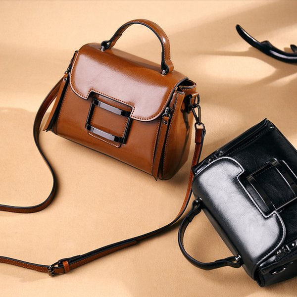 Individual2019 Bag Tide Genuine Leather Concise Messenger Woman Small Square Package Ma'am Handbag