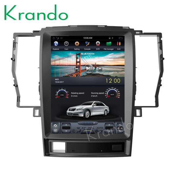 """Krando Android 7.1 12.1""""Tesla style Vertical screen car DVD multimedia player GPS for Toyota Crown 2008-2012 navigation system BT KD-TV131"""