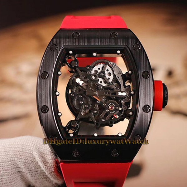 Versión de nivel superior RM055 Skeleton Dial Negro Compuesto de nano-cerámica Estuche Japón Miyota automático RM 055 Reloj para hombre Relojes con correa de goma blanca